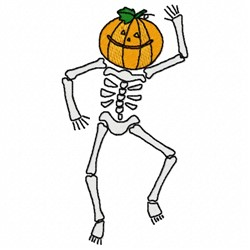 Pumpkin Skeleton embroidery design