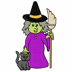 Witch Cat embroidery design