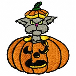 Cat Pumpkin embroidery design