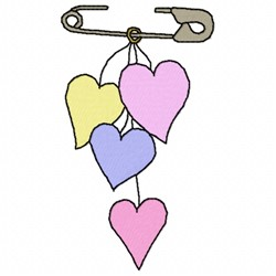 Hearts Pin embroidery design