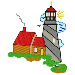 Lighthouse Home embroidery design