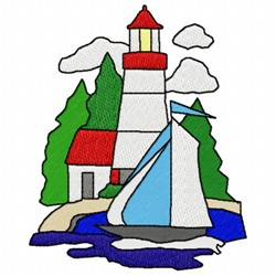Lighthouse Boat embroidery design