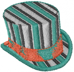 Striped Top Hat embroidery design