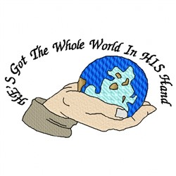 World In His Hand embroidery design