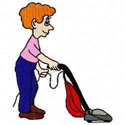 Vacuuming Man embroidery design