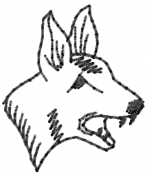 Dog Head Outline embroidery design
