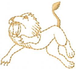 Leaping Lion Outline embroidery design
