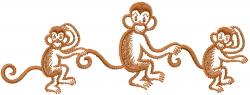 Three 3 Monkeys embroidery design