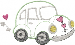 Heart Bug Car embroidery design