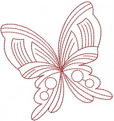 Butterfly Redwork Design embroidery design