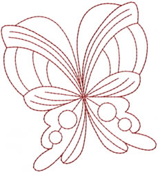 Fancy Butterfly Redwork embroidery design