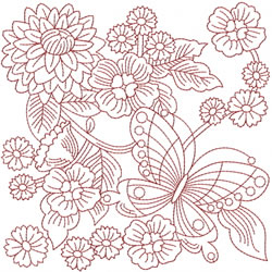Redwork Garden embroidery design