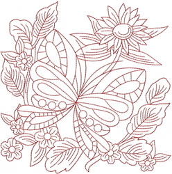 Redwork Flowers embroidery design