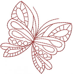 Pretty Redwork Butterfly embroidery design