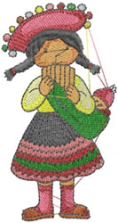 Peruvian Girl embroidery design