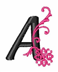 Floral Twirl Letter A embroidery design