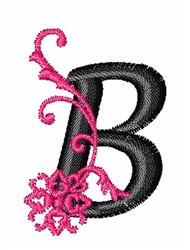 Floral Twirl letters B embroidery design