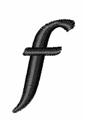 Floral Twirl Lowercase F embroidery design
