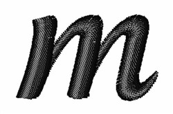 Floral Twirl Lowercase M embroidery design