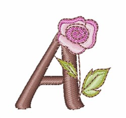 Rose Alphabet Uppercase A embroidery design