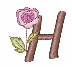 Rose Alphabet Uppercase H embroidery design