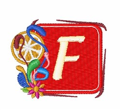 Tropocal Letter F embroidery design