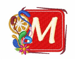 Tropocal Letter M embroidery design