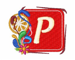 Tropocal Letter P embroidery design