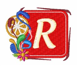 Tropocal Letter R embroidery design