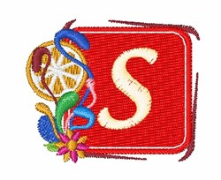 Tropocal Letter S embroidery design