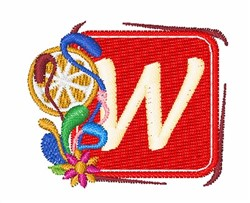 Tropocal Letter W embroidery design