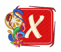 Tropocal Letter X embroidery design