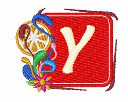 Tropocal Letter Y embroidery design