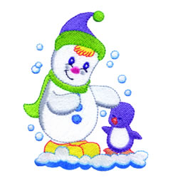 Snowman & Penguin embroidery design