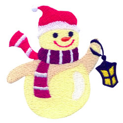 Snowman & Lantern embroidery design