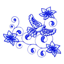Flowers And Dove embroidery design