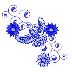 Delft Dove embroidery design