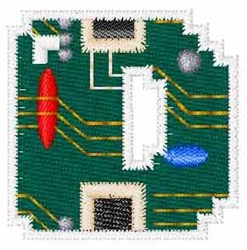 Circuit Board Font D embroidery design