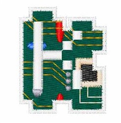 Circuit Board Font k embroidery design
