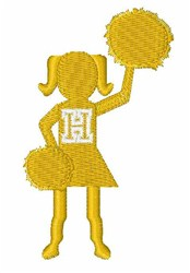 Cheerleader Font H embroidery design