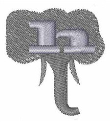 Elephant Font h embroidery design
