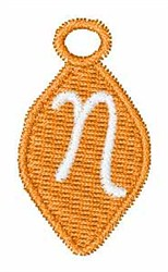 Christmas Ornament Font N embroidery design