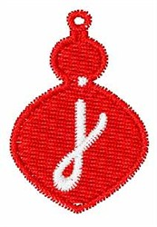 Christmas Ornament Font j embroidery design