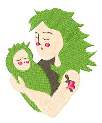 Punk Mom and Baby embroidery design
