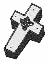 Boxed Floral Cross embroidery design
