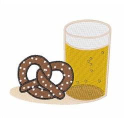 Beer & Pretzel embroidery design