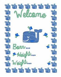 Welcome Whale embroidery design