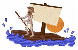 Man On Raft embroidery design