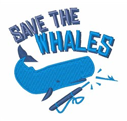 Save The Whales embroidery design