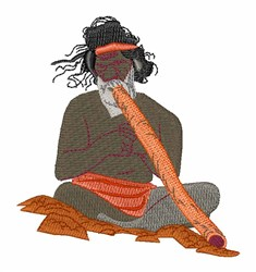 Didgeridoo Player embroidery design